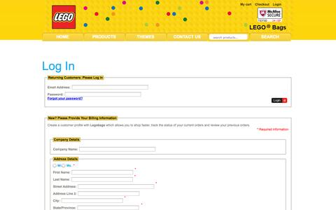 Screenshot of Login Page legobags.com - Login : ::..LEGO..::, LEGObags.com for all of your kids bags - captured Sept. 24, 2014