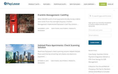 Screenshot of Case Studies Page paylease.com - Products | PayLease - captured Aug. 4, 2018