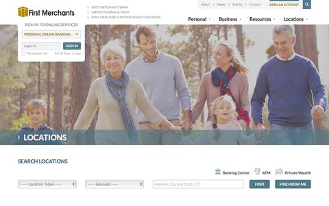 Screenshot of Locations Page firstmerchants.com - Locations | First Merchants Bank - captured Oct. 11, 2016