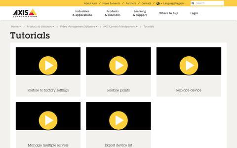 Screenshot of axis.com - Tutorials | Axis Communications - captured Sept. 24, 2017