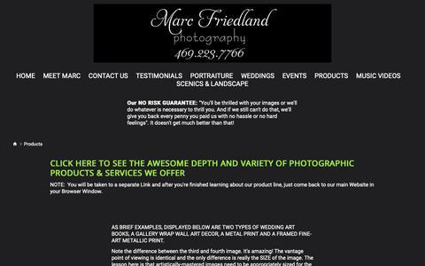 Screenshot of Products Page marcfriedlandphoto.com - RANGE OF PRODUCTS - MarcFriedlandPhoto - captured Oct. 16, 2018
