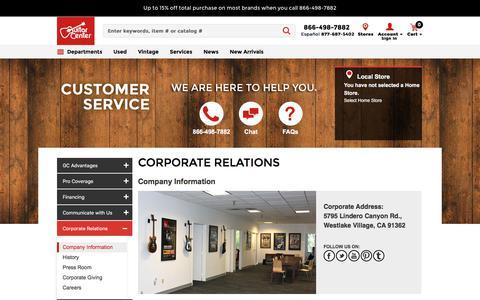 Screenshot of About Page guitarcenter.com - Company Information | Guitar Center - captured July 20, 2019