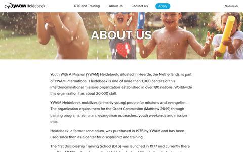 Screenshot of About Page ywamheidebeek.org - About us – YWAM Heidebeek - captured Jan. 18, 2018