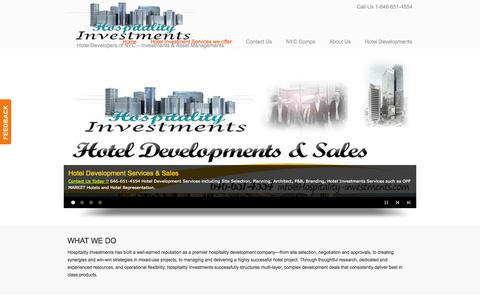 Screenshot of Home Page Services Page hospitality-investments.com - Hospitality Investments and Developments - NYC Hotel Properties - Hotel Developers of Manhattan - captured Oct. 3, 2014