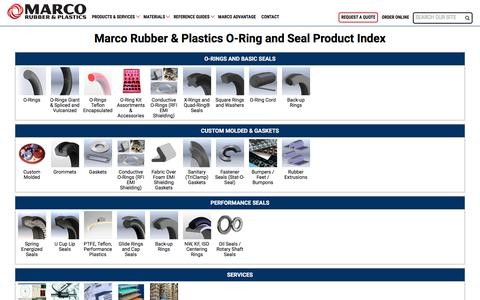 Screenshot of Products Page marcorubber.com - O-Ring and Seal Product Index from Marco Rubber & Plastics - captured Oct. 5, 2017