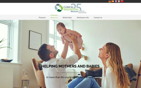 Screenshot of About Page clinicalinnovations.com - About Us - Clinical Innovations - forMOM. forBABY. forLIFE. - captured Sept. 28, 2018
