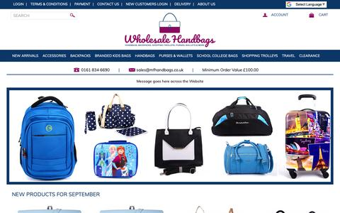 Screenshot of Home Page wholesalehandbags.co.uk - Wholesale Handbags | Wholesaler Handbags | Handbag wholesales | UK - captured Sept. 29, 2018