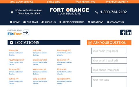 Screenshot of Locations Page focusadjusters.com - Locations | Fort Orange Claim Services - Independent Insurance Claims Adjusters - captured Oct. 10, 2018