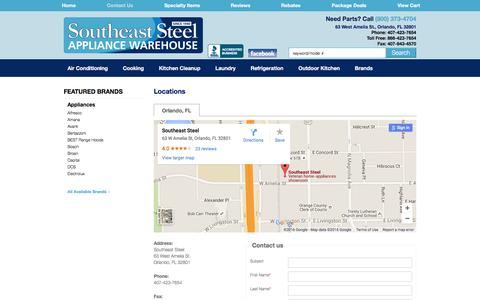 Screenshot of Contact Page Locations Page southeaststeel.net - Contact Southeast Steel in Florida - captured June 29, 2016