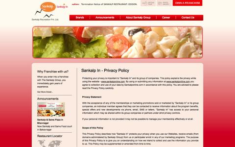 Screenshot of Privacy Page sankalponline.com - Sankalp - captured Oct. 4, 2014
