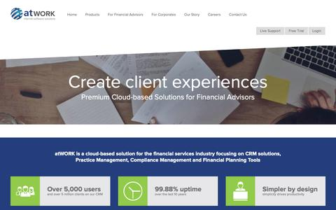Screenshot of Home Page atwork.co.za - Cloud-Based CRM Solutions & Systems | atWORK - captured Oct. 21, 2018