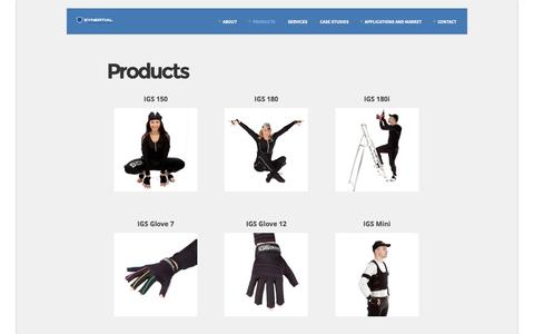 Screenshot of Products Page synertial.com - Products | Synertial | Cutting Edge Motion Capture - captured Oct. 4, 2014