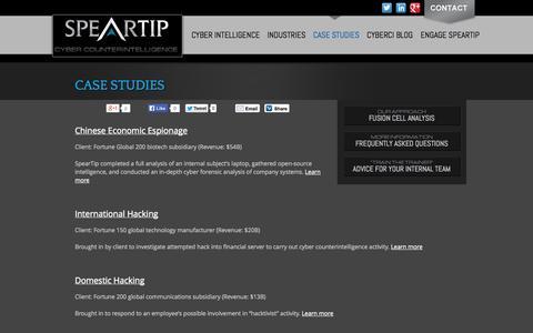 Screenshot of Case Studies Page speartip.com - Cyber Counterintelligence - Case Studies - captured Sept. 30, 2014