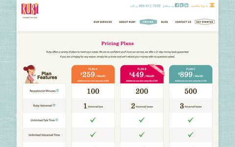 Screenshot of Pricing Page callruby.com - Remote Receptionists Plans & Pricing - Call Answering Services - Ruby Receptionists - captured Feb. 25, 2016