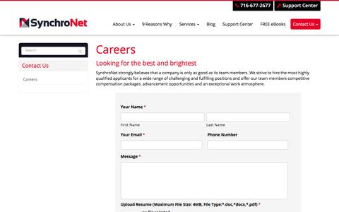 Screenshot of Jobs Page synchronet.net - Careers - West Seneca, Buffalo, Cheektowaga | SynchroNet - captured Feb. 17, 2016