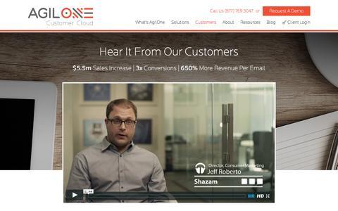 Screenshot of Case Studies Page agilone.com - AgilOne Predictive Marketing Customers - AgilOne | Customer Cloud - captured July 3, 2016
