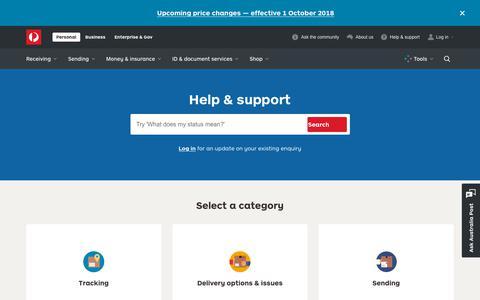 Screenshot of Contact Page auspost.com.au - Help & support - Australia Post - captured Sept. 21, 2018