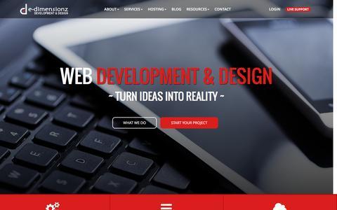 Screenshot of Home Page e-dimensionz.com - e-dimensionz | e-dimensionz Inc - Web Development & Design - captured Dec. 29, 2015