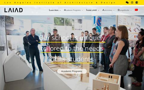 Screenshot of Home Page laiad.com - LAIAD – The Los Angeles Institute of Architecture and Design - captured Sept. 30, 2018