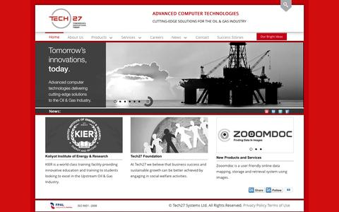 Screenshot of Home Page tech27.com - Oil & Gas Engineering Consultants for Petroleum Companies | Petroleum Engineering Consultants | Tech27.com - captured Oct. 6, 2014