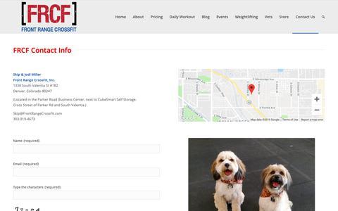 Screenshot of Contact Page frontrangecrossfit.com - Contact Us | Front Range CrossFit - captured Feb. 4, 2019