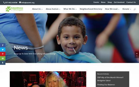 Screenshot of Press Page autismallianceofmichigan.org - News   Autism Alliance of Michigan - captured Oct. 20, 2019