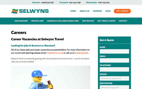 Screenshot of Jobs Page selwyns.co.uk - Career & Jobs Vacancies at Selwyns Coach Hire | Recruiting Now! - captured Nov. 3, 2017