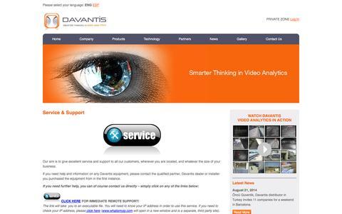 Screenshot of Support Page davantis.com - Service & Support   Davantis Technologies EN - captured Oct. 5, 2014