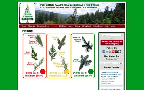Screenshot of Pricing Page patchencalifornia.com - Pricing | PATCHEN California Christmas Tree Farms - captured May 14, 2017