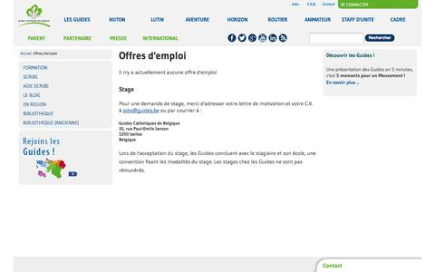 Screenshot of Jobs Page guides.be - Offres d'emploi | Les Guides - captured Nov. 2, 2014