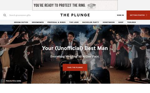 Screenshot of Home Page theplunge.com - Engagement Advice, Wedding Planning Tips and More for the Guy Getting Married from The Plunge - captured Oct. 18, 2018