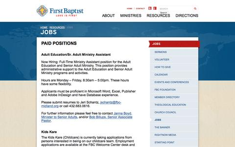 Screenshot of Jobs Page fbc-midland.org - JOBS | First Baptist Church Midland, TX - captured June 17, 2016