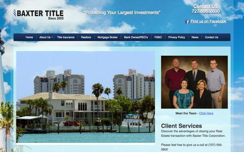 Screenshot of Home Page baxtertitle.com - Home - Baxter Title - captured Sept. 10, 2015