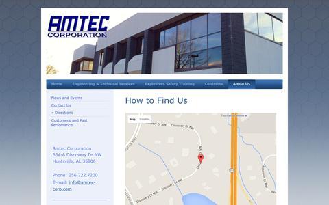 Screenshot of Maps & Directions Page amtec-corp.com - Amtec Corporation - Directions - captured Feb. 6, 2016