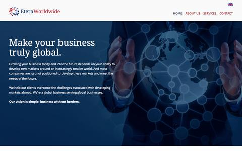 Screenshot of Home Page Menu Page eteraworldwide.com - Etera: Business without borders - captured Sept. 30, 2014