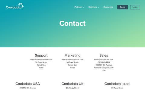 Screenshot of Contact Page cooladata.com - Contact Cooladata - captured July 13, 2018
