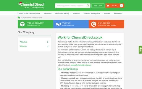 Screenshot of Jobs Page chemistdirect.co.uk - Work with Us - Chemist Direct - captured Dec. 3, 2015