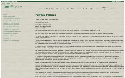 Screenshot of Privacy Page curvyroad.com - Privacy Policies for Curvy Road, an Exotic Car Share Company offering fractional ownership - captured Sept. 30, 2014