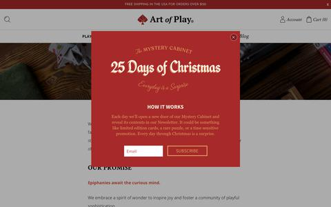 Screenshot of About Page artofplay.com - About Us - Art of Play - captured Dec. 3, 2018