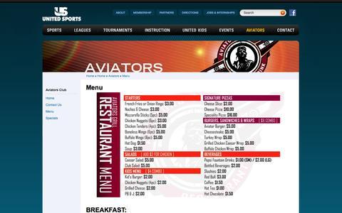Screenshot of Menu Page unitedsports.net - Menu - Aviators - United Sports - captured Oct. 27, 2014