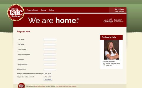 Screenshot of Signup Page allentate.com - Jennifer Hollowell - 1st to Know Real Estate Search Service - captured July 7, 2018