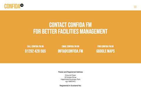 Screenshot of Contact Page confida.fm - Contact Confida FM for Better Facilities Management - captured July 10, 2018
