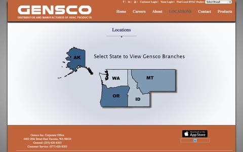 Screenshot of Locations Page gensco.com - Gensco Locations - captured Jan. 27, 2016