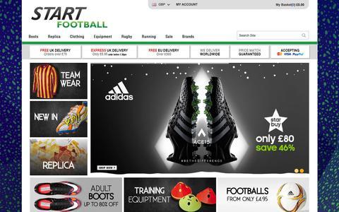 Screenshot of Home Page startfootball.co.uk - Start Football - Football Kits | Football Boots | Goalkeeper | Start Football - captured Jan. 13, 2016