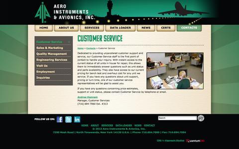 Screenshot of Support Page aeroinst.com - Customer Service - Aero Instruments & Avionics, Inc. - captured Oct. 4, 2014