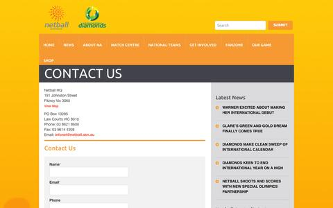 Screenshot of Contact Page netball.com.au - Contact Us - Netball AustraliaNetball Australia - captured Oct. 26, 2014