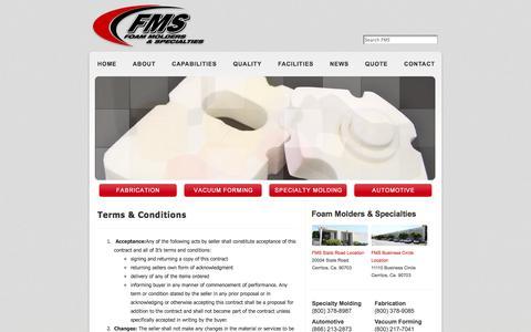 Screenshot of Terms Page foammolders.com - Terms & Conditions « Foam Molders - captured Oct. 6, 2014
