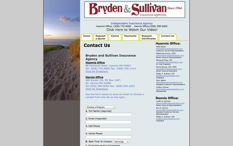 Screenshot of Contact Page Maps & Directions Page brydenandsullivan.com - Bryden and Sullivan Independent Insurance Agency - Contact Us - captured Oct. 23, 2014