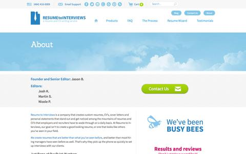 Screenshot of About Page resumetointerviews.com - Resume to Interviews Company - captured Sept. 22, 2014