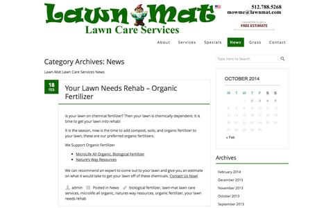 Screenshot of Press Page lawnmat.com - News   Lawn-Mat Lawn Care Services - captured Oct. 2, 2014